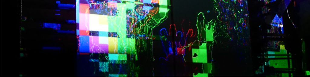 glitched projections with colorful squares